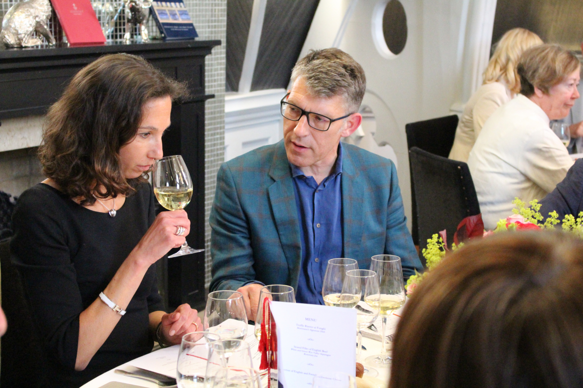 Severine Bonnie of Chateau Malartic Lagraviere, with IWSC General Manager Adam Lechmere